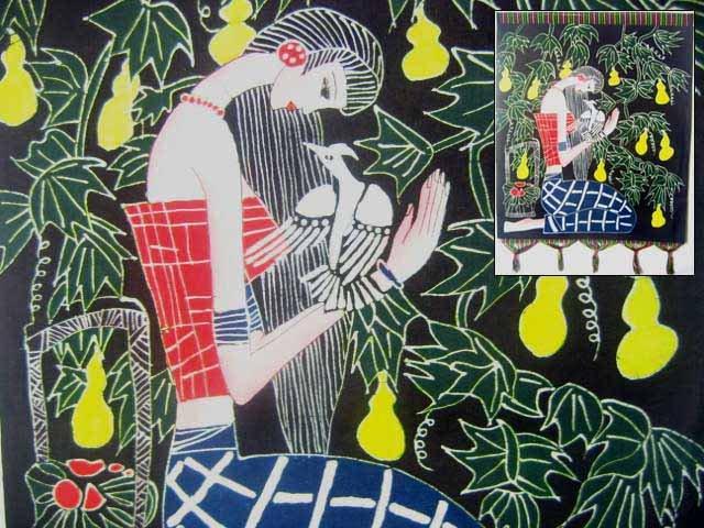chinese batik art  mural painting -missing