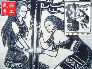 chinese batik art mural painting, wall hanging-pestle rice