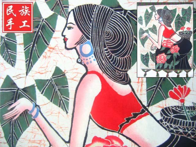 chinese batik art mural painting, wall hanging-Dai na tionality girl picking flower