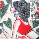 chinese batik art mural painting, wall hanging-Dai na tionality girl picking flower