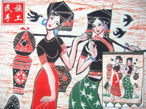 chinese batik art mural painting, wall hanging-Carry water in the morning