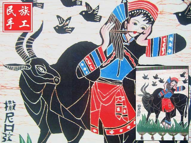 chinese batik art mural painting, wall hanging-shepherdess