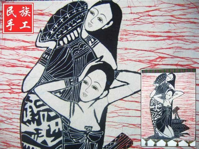 chinese batik art mural painting, wall hanging-enjoy bathing