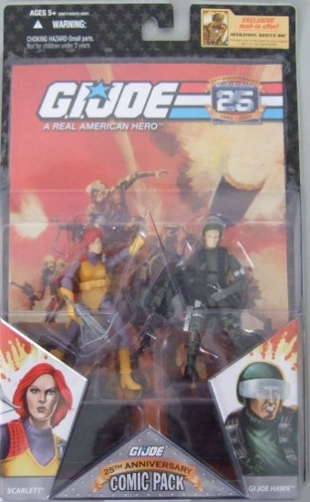 GI Joe 25th Anniversary Comic Pack - Scarlett and GI Joe Hawk Action Figure 2 - Pack