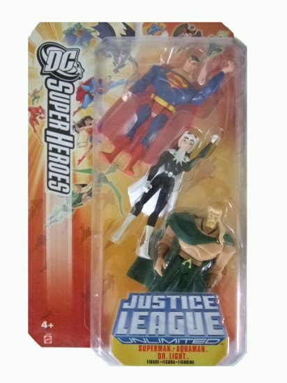 DC SuperHeroes:Justice League Unlimited - Superman. Dr Light and Aquaman Action Figure 3-Pack