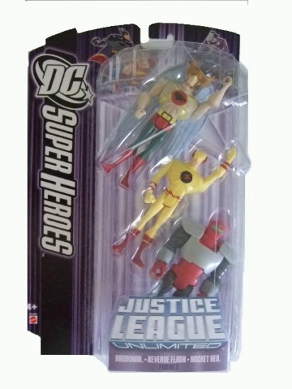 DC SuperHeroes:Justice League Unlimited - Hawkman. Reverse Flash and Rocket Red Action Figure
