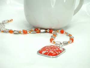 Orange Pendant Beaded Necklace