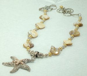 Starfish Seashore Shell Pendant Necklace