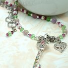Key Pendant on Beaded Necklace