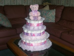 TEDDY BEAR 3 TIER DIAPER CAKE