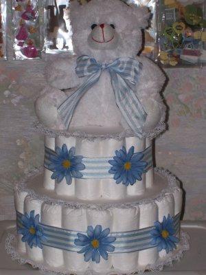 BLUE DAISIES 3 TIER DIAPER CAKE