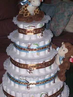Five Tier Beenie Giraffe & Monkey Diaper cake.