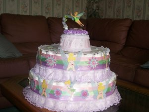 TINKER BELL EXTRA LARGE 2  TIER DIAPER CAKE