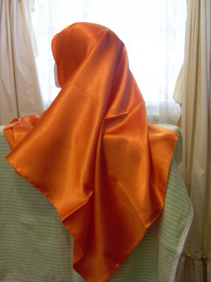 Beautiful orange Turkish Hijab, Satin Scarf, Eid hijab