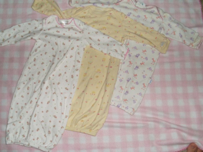 lot of 3 baby sleeping gowns sleep sacks 0-3 months girl