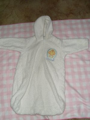 hooded terry baby bunting bath towl