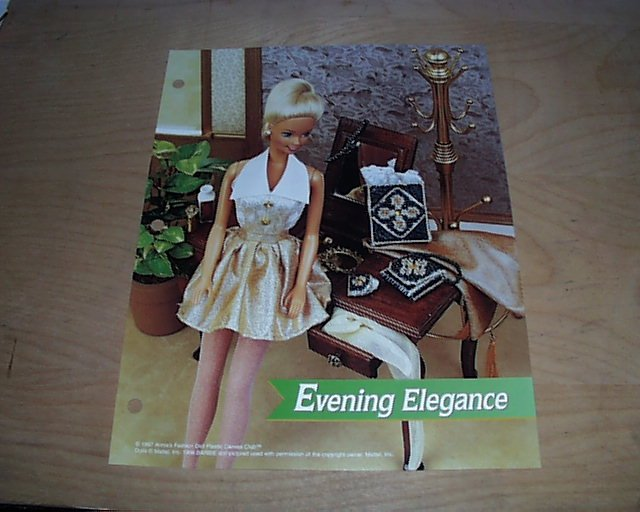 FASHION DOLL EVENING ELEGANCE PLASTIC CANVAS PATTERN