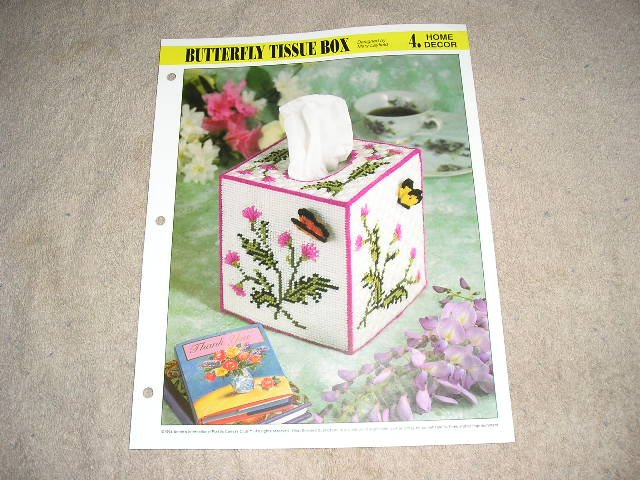 HOME DECOR - Butterfly Tissue Box Plastic Canvas Pattern