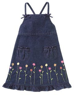Girls Gymboree Freshly Picked Flower Border Denim Jumper Size 3