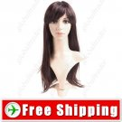 Synthetic Capless Natural Long Straight Wig - Swept Bangs Hairpiece