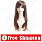 Synthetic Natural Long Full Straight Wig - Swept Bangs Hairpiece