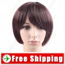 Synthetic Natural Short Straight Wig - Swept Bangs Hairpiece