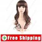 Synthetic Natural Long Curly Wavy Wig - Full Bangs Hairpiece