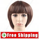 Smart Short Synthetic Hair - Flat Bang Straight Wig Hairpiece