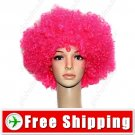 Synthetic Hot Pink Funky Unisex Short Costume Cosplay Wig Hairpiece