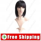 Synthetic Capless Short Black Straight Wig - Full Bangs Hairpiece