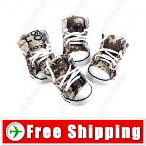 2 Pairs Army Camouflage Runner Boot Shoes for Pets Dogs