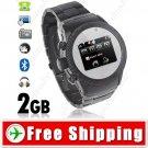 2-SIM 2GB Unlocked Watch Mobile Cell Phone - Bluetooth Camera FM