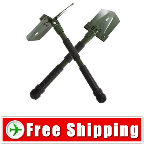 New Wilderness Survival Steel Detachable Shovel with Compass - Pouch