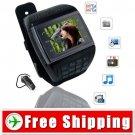 2 Sim QuadBand Watch Phone FM Compass Touch Screen FREE Shipping