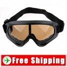 Ski Sports Glasses Goggles Brown Lens Black Frame FREE Shipping