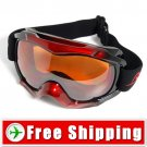 New Anti-Fog Dual Lens Snowboard Ski Goggles Red&Black FREE Shipping