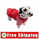 Dog Vest Style Pullover Coat with Stripe Pattern Red FREE Shipping