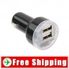 Dual USB Sockets Cigarette Lighter Car Charger DC12/24V FREE Shipping