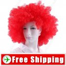Synthetic Red Funky Unisex Short Curly Clown Wig for Fun FREE SHIPPING