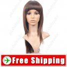 Capless Fiber Long Brown Full Straight Wig Hairpiece FREE SHIPPING