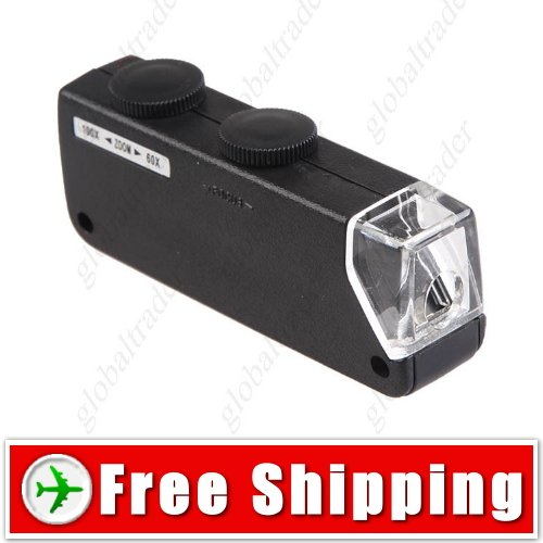 60X-100X Zoom & Focus LED Microscope Pocket Magnifier FREE SHIPPING