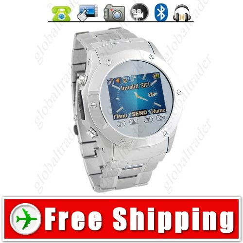 Quad Band Steel Watch Mobile Cell Phone with Bluetooth FM Radio E-book