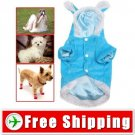 Dog Wear Puppy Plush Sweather Coat with Rabbit Ear Cap FREE SHIPPING
