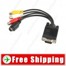 15-pin VGA Male to Video TV S-Video - RCA Composite AV Adapter Cable