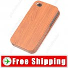 Flip-open Brown Wood Grain Texture Protective Case for iPhone 4 4S