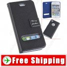 Leather Protective Pouch Bag Flip Case with Magnetic for iPhone 4