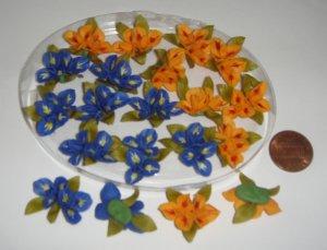 Miniature Iris Flowers handmade Luna Clay Crafts