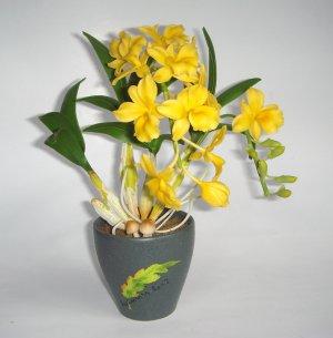 Dendrobium Orchid Home Decor Handmade Flower - Luna Clay