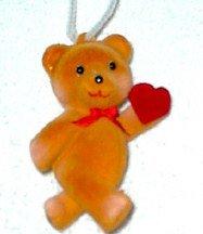 BEARS FLOCKED BROWN HEART NEW HANGING LOT OF 5 DOZEN $ 15.00