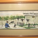 SALE! Jan Danov Original Amish Watercolor FRAMED &quot;Suzy&#39;s Sheep&quot;